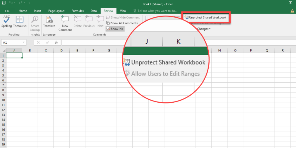 To unprotect the workbook, click on the Unprotect Shared Workbook.