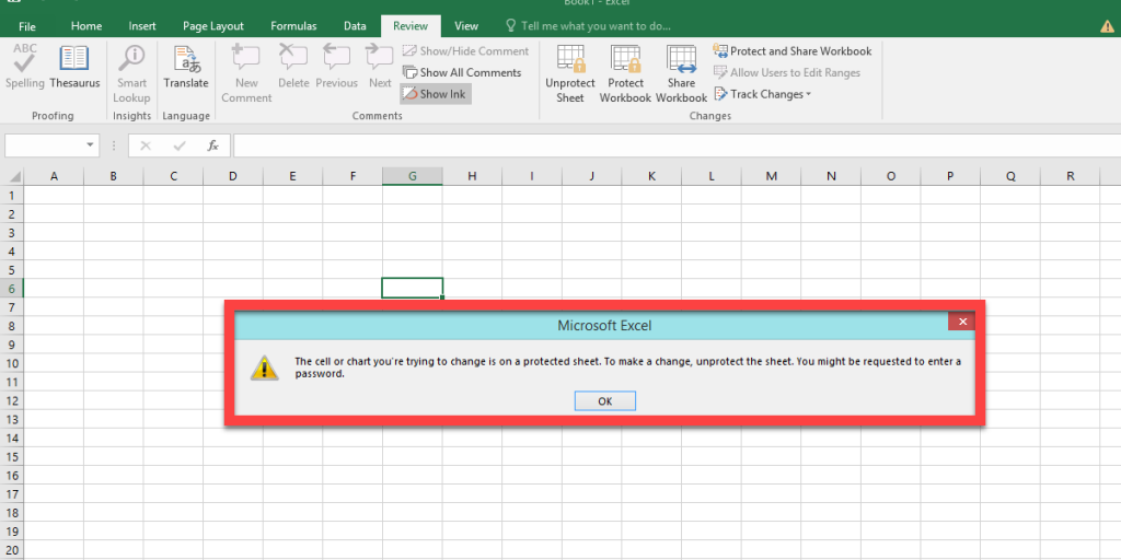 Microsoft Excel massage when you want edit a locked cell