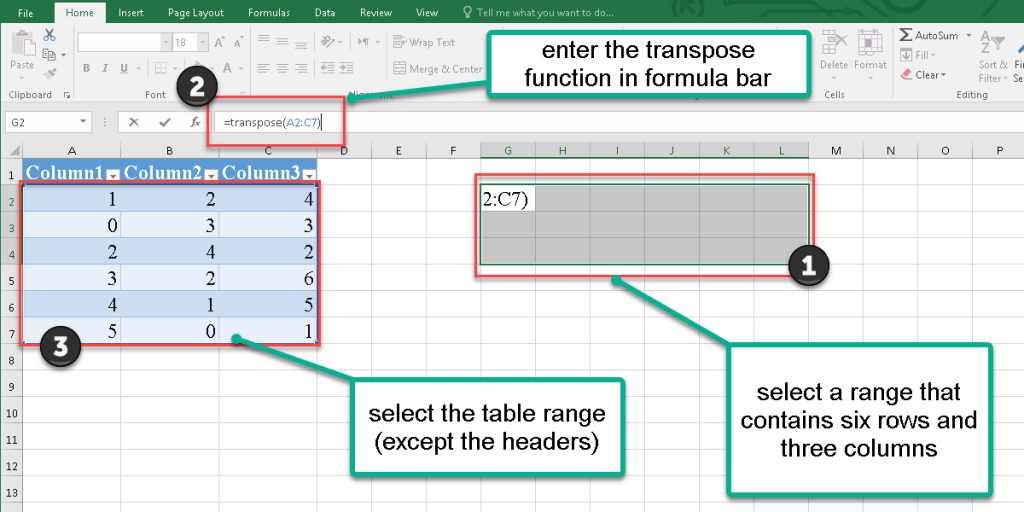 How to rotate a table in Excel?