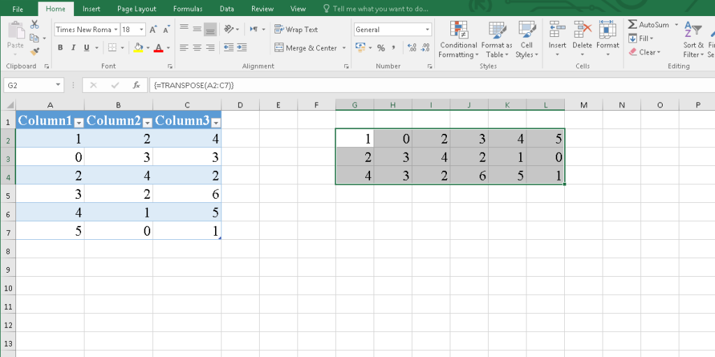 The rotated table by using the Transpose function in Excel.